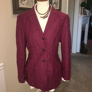 ESCADA SPORT PLUM TWEED WOOL 3 BUTTON BLAZER SZ 10